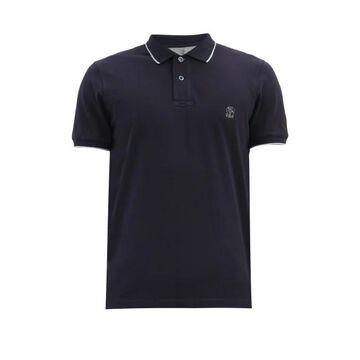 Brunello Cucinelli - Logo-embroidery Cotton-pique Polo Shirt - Mens - Navy
