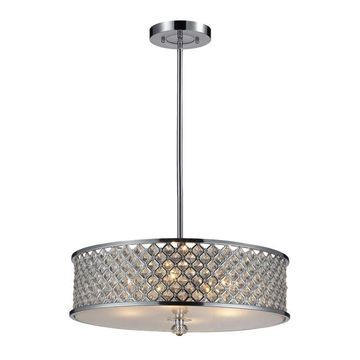 Westmore Lighting Fortress Polished Chrome Single Modern/Contemporary Pendant Light