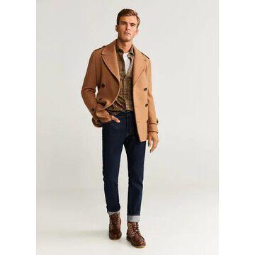 MANGO MAN - Regular fit checked flannel shirt ochre - L - Men