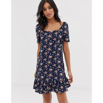 Vila floral peplum hem dress-Multi