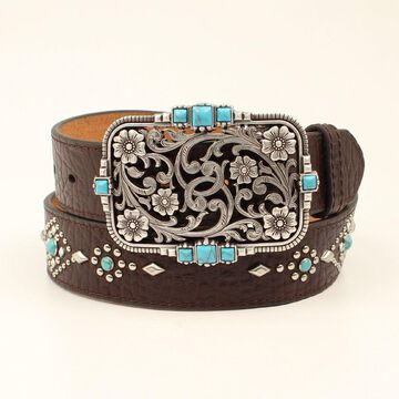 Nocona N3412502-S Ladies Turquoise Rivets Floral Belt, Black & Brown - Small
