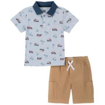 Kids Headquarters Toddler Boys 2-Piece Safari Print Short Sleeve Polo Shirt and Twill Shorts Set