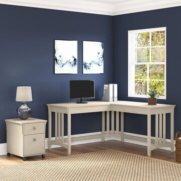 Salinas 60W L Shaped Desk with Mobile File Cabinet by Bush Furniture