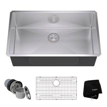Kraus 32 Inch Rectangular Undermount Single Bowl Stainless Steel Kitchen Sink