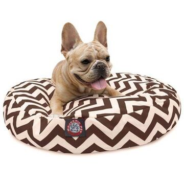 Majestic Pet Chevron Round Dog Bed Treated Polyester Removable Cover Chocolate Small 30 x 30 x 4