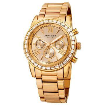 Akribos XXIV Women's Swiss Quartz Multifunction Swarovski Crystal Gold-Tone Bracelet Watch (Gold-tone)