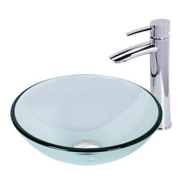 VIGO Crystalline Glass Circular Vessel Bathroom Sink