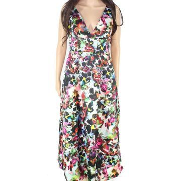 Monique Lhuillier Womens Black Size 2 Abstract Print Midi Sheath Dress