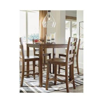 Signature Design by Ashley Hazelteen Square Counter Table Set - 5 Piece Set - Casual Style - Medium Brown