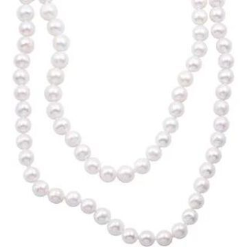 DaVonna Semi-round 9-10mm White Freshwater Pearl Endless Necklace (100 inch)