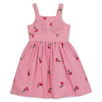 Little Girls Pinstripe Cherry Embroidered Sundress