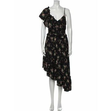 Msgm Floral Print Midi Length Dress Black Msgm Floral Print Midi Length Dress