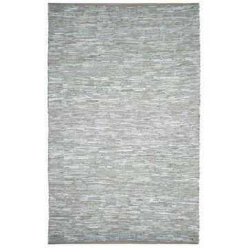 White Matador Leather Chindi Rug