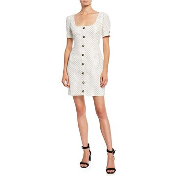 Spot Button-Front Linen-Blend Dress