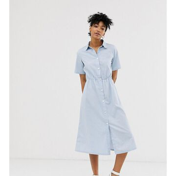 Monki midi dress with button detail in light blue