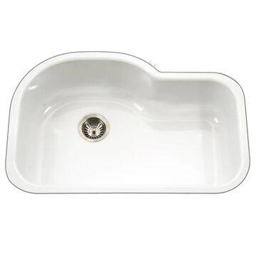 HOUZER Porcela Undermount 20.687-in x 31.25-in White Single Bowl Kitchen Sink | PCH-3700 WH