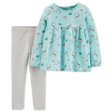 Toddler Girls 2-Pc. Unicorn-Print Top & Leggings Set