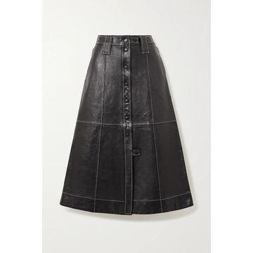GANNI - Topstitched Leather Midi Skirt - Black