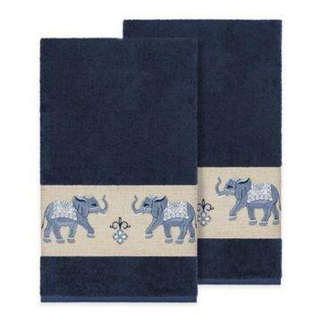 Linum Home Textiles Quinn Bath Towels in Midnight Blue (Set of 2)