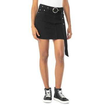 Almost Famous Juniors' Belted Denim Mini Skirt