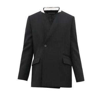 Haider Ackermann - Raw Edged Wool Herringbone Jacket - Mens - Black Multi