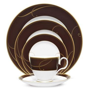 Noritake Golden Wave Chocolate 5-Piece China Setting, Set of 12