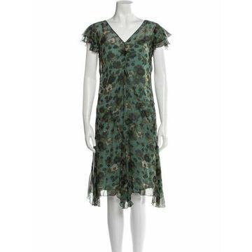 Floral Print Knee-Length Dress w/ Tags Green