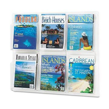 Safco Products Reveal Clear Literature Displays, 6 Compartments, 30w X 2d X 24.5h, Clear