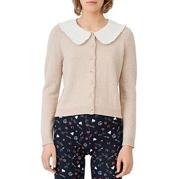 Maje Micron Short Cardigan with Collar