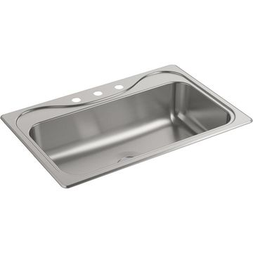 KOHLER Southhaven 29.18-in x 15.06-in Single Bowl Undermount 3-Hole Residential Kitchen Sink Stainless Steel