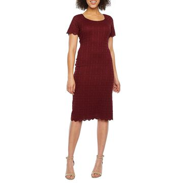 Ronni Nicole Short Sleeve Lace Sheath Dress