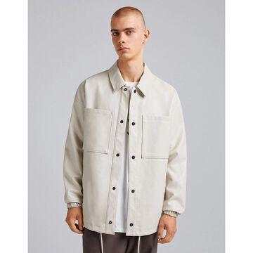 Bershka PU overshirt in off white