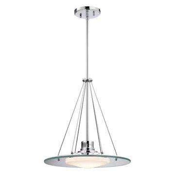 Alico Tribune 1 Light LED Pendant, Chrome and Opal Glass