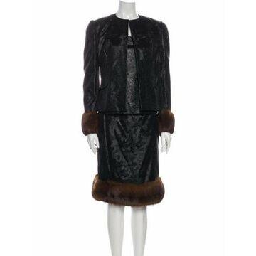 Fur Trim Skirt Suit Black