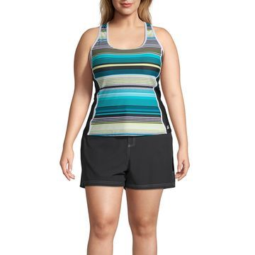 Zeroxposur Striped Tankini Swimsuit Top-Plus