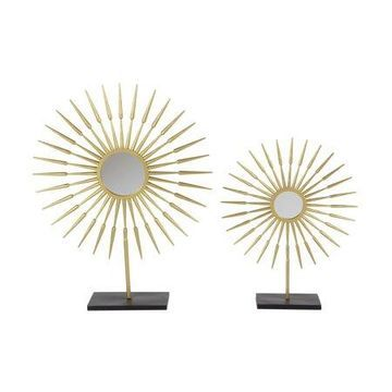Decmode Set of 2 glam 21 and 28 inch radial sculptures, Gold