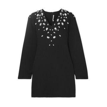 Christopher Kane - Cutout Crystal-embellished Stretch Cotton-blend Jersey Mini Dress - Black