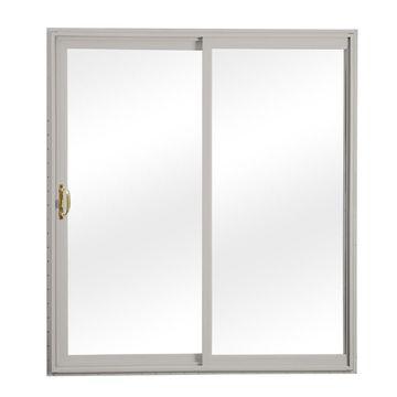 ReliaBilt Clear Glass Gray Vinyl Universal Reversible Double Door Sliding Patio Door (Common: 72-in x 80-in; Actual: 70.75-in x 79.5-in)