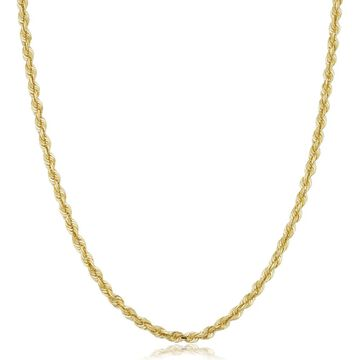 Fremada Unisex 10k Yellow Gold 3.8-mm Semi Solid Rope Chain Necklace (16 - 30 inches)