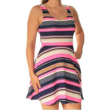 DEREK HEART Womens Blue Striped Sleeveless Scoop Neck Mini Fit + Flare Dress Juniors Size: S