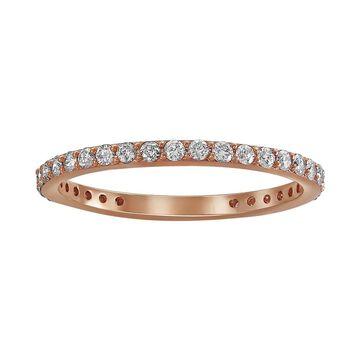 14k Rose Gold 1/2ct TDW Diamond Eternity Wedding Band by Beverly Hills Charm