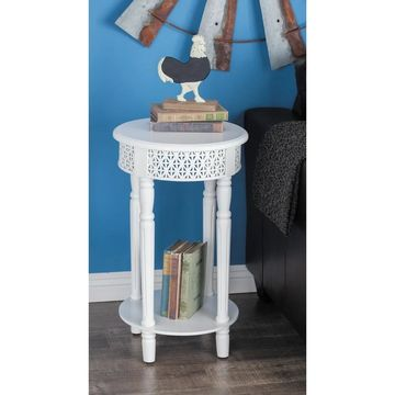 Farmhouse 27 Inch Round White Wooden Side Table by Studio 350