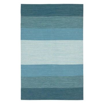 India Contemporary Area Rug, Blue, 3'6x5'6 Rectangle