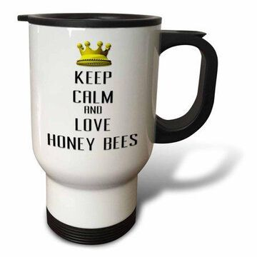 3dRose Gold Crown Keep Calm And Love Honey Bees, Travel Mug, 14oz, Stainless Steel