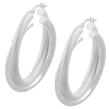 Fremada Sterling Silver 6-mm Textured/ Polished Double Hoop Earrings