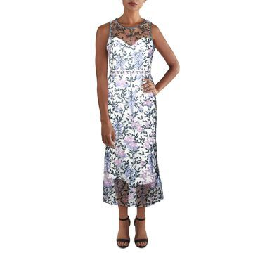 Marchesa Notte Womens Midi Dress Lace Floral - Ivory/Teal