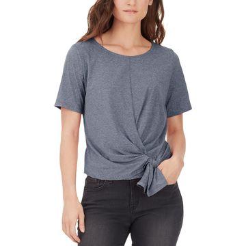 William Rast Womens Striped Short Sleeves Blouse
