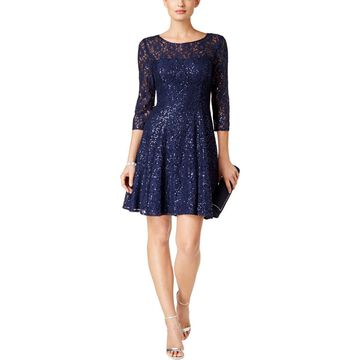 SL Fashions Womens Lace Overlay Sequined Cocktail Dress