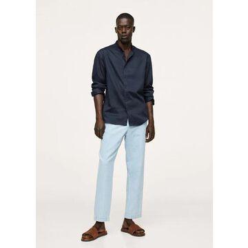 MANGO MAN - Relaxed cotton shirt with mandarin collar dark navy - L - Men