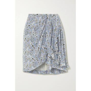 Isabel Marant - Ixori Draped Paisley-print Silk Crepe De Chine Mini Skirt - Blue